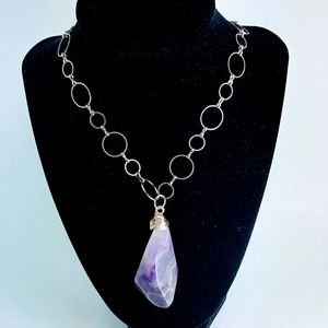 Jewelry - New Large Amethyst  Pendant Silver Tone Necklace
